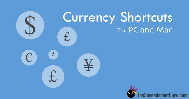 Microsoft Windows Apple Macintosh Currency Keyboard Shortcut Guide