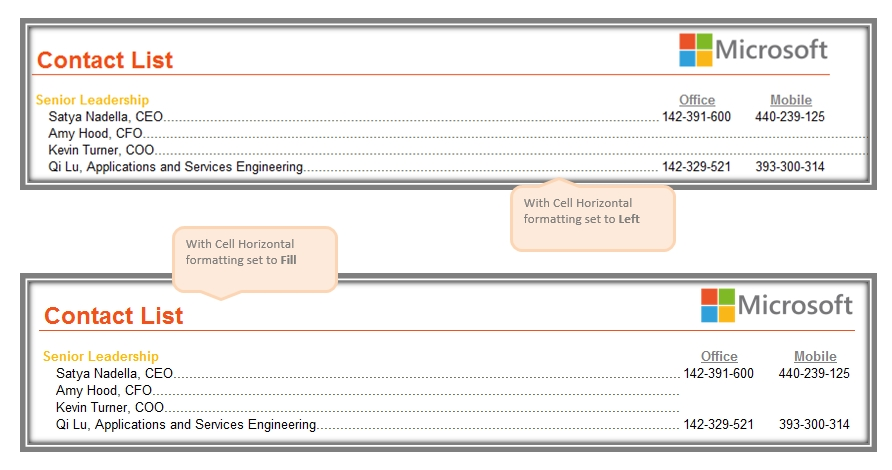 Dotted Line separator with Cell Fill formatting