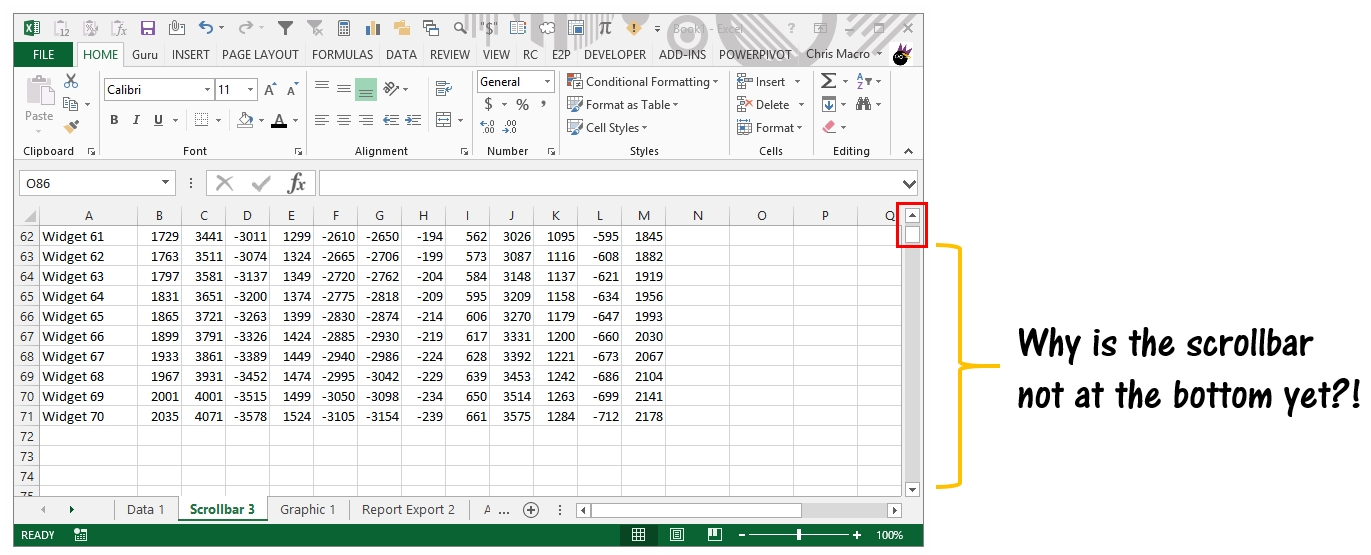 Why Is my scroll bar so small compared to spreadsheet data