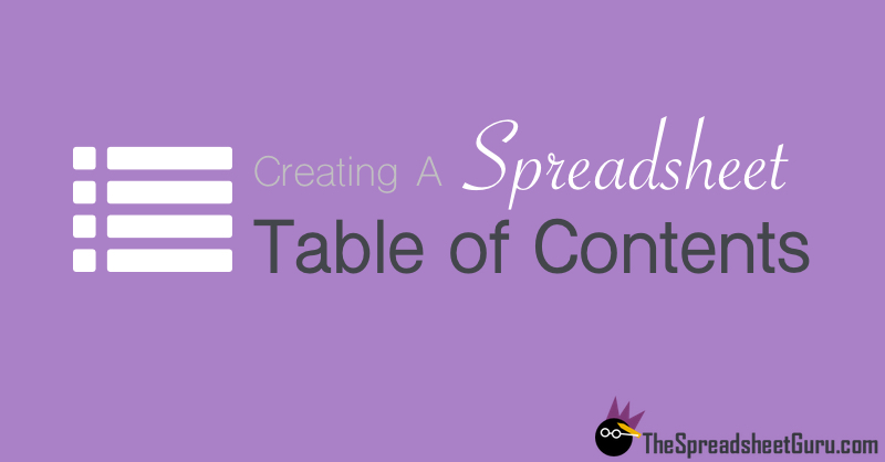 Creating a Spreadsheet with Table of Contents VBA code automate