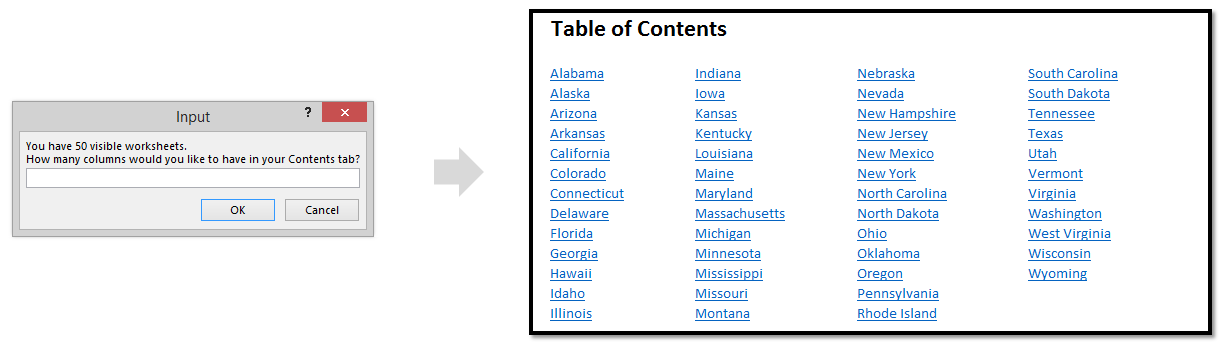 Create a mutli-line table of contents in Microsoft Excel