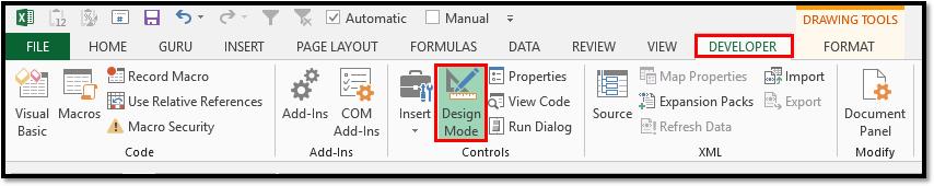 Microsoft Excel Developer Tab Design Mode