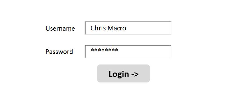 Create Login Interface in Microsoft Excel Spreadsheet