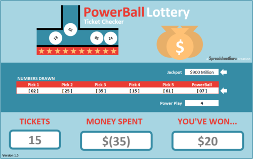 Excel PowerBall Lottery Ticket Checker Spreadsheet — The