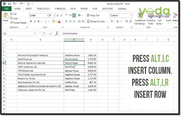 Excel Shortcut Insert Rows Columns
