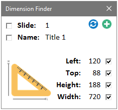E2P Excel Addin - PowerPoint Dimension Finder