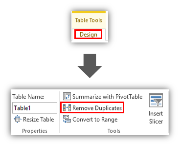 Remove Duplicates Button with Excel Tables