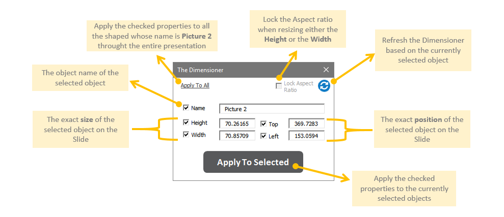 Guru Tab Microsoft PowerPoint Add-in Dimensioner Tool