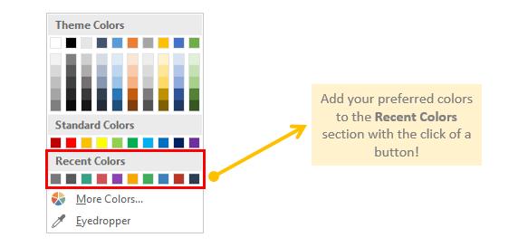 Guru Tab Microsoft PowerPoint Tool Recent Colors