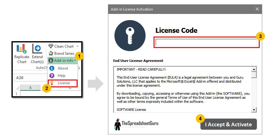 Autochart Add-in Enter License Code