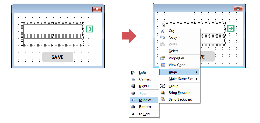 Steps to middle align Excel Userform Textbox