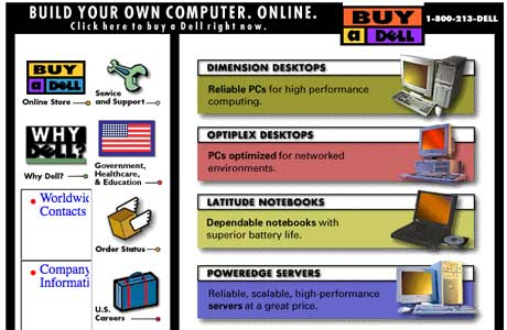 Dell Computers Website in the 1990s (click to enlarge)