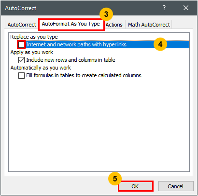 Prevent Autocorrect Hyperlink In Excel