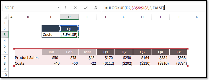 Excel hlookup Function Spreadsheet Example