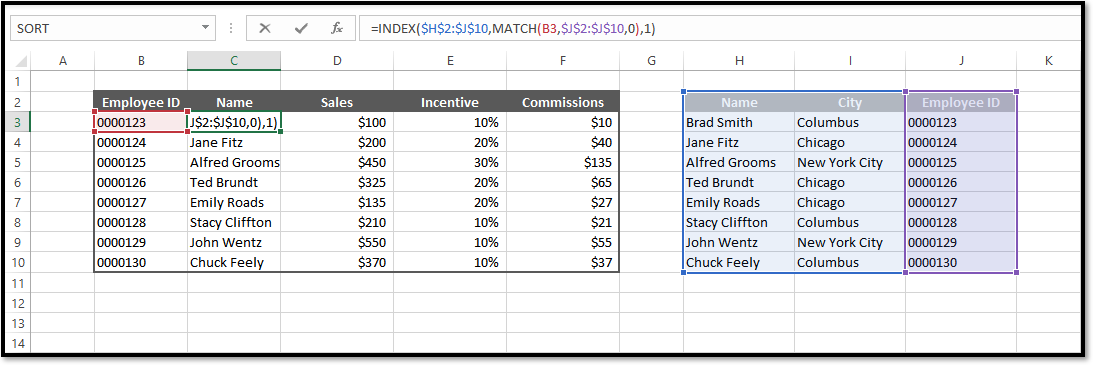 Excel Index/match Function Spreadsheet Example
