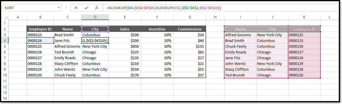 Excel double Xlookup Function Spreadsheet Example