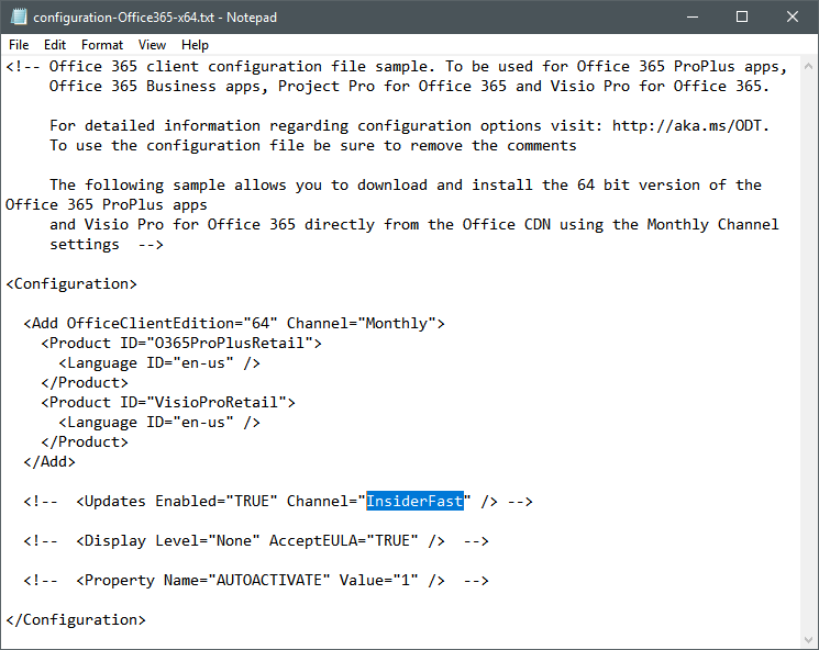 Office Insider Fast Setup - Text File