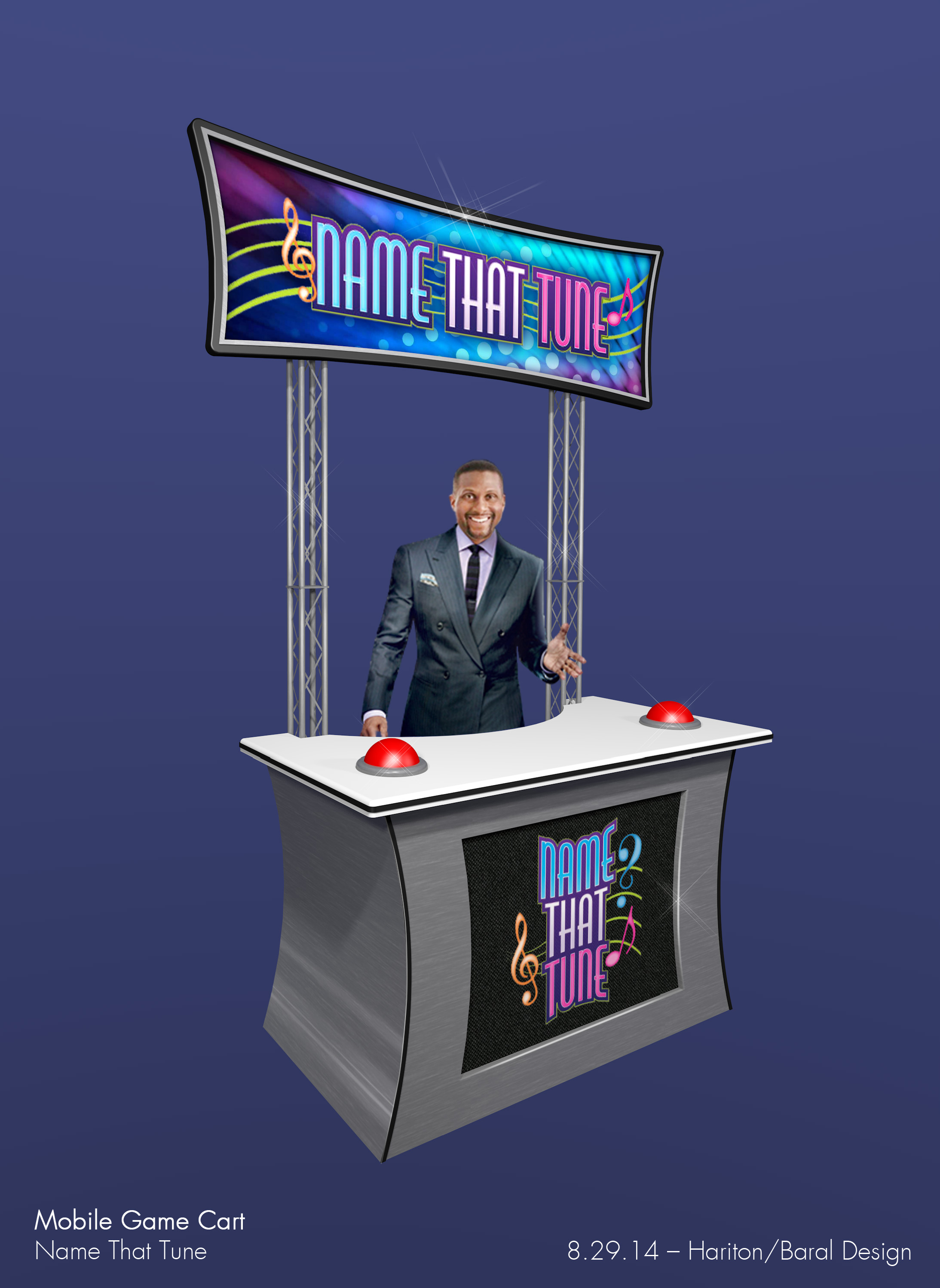 The mobile game cart was used throughout the ships as an interactive way to recruit contestants for the game show via on-the-spot head-to-head song battles.