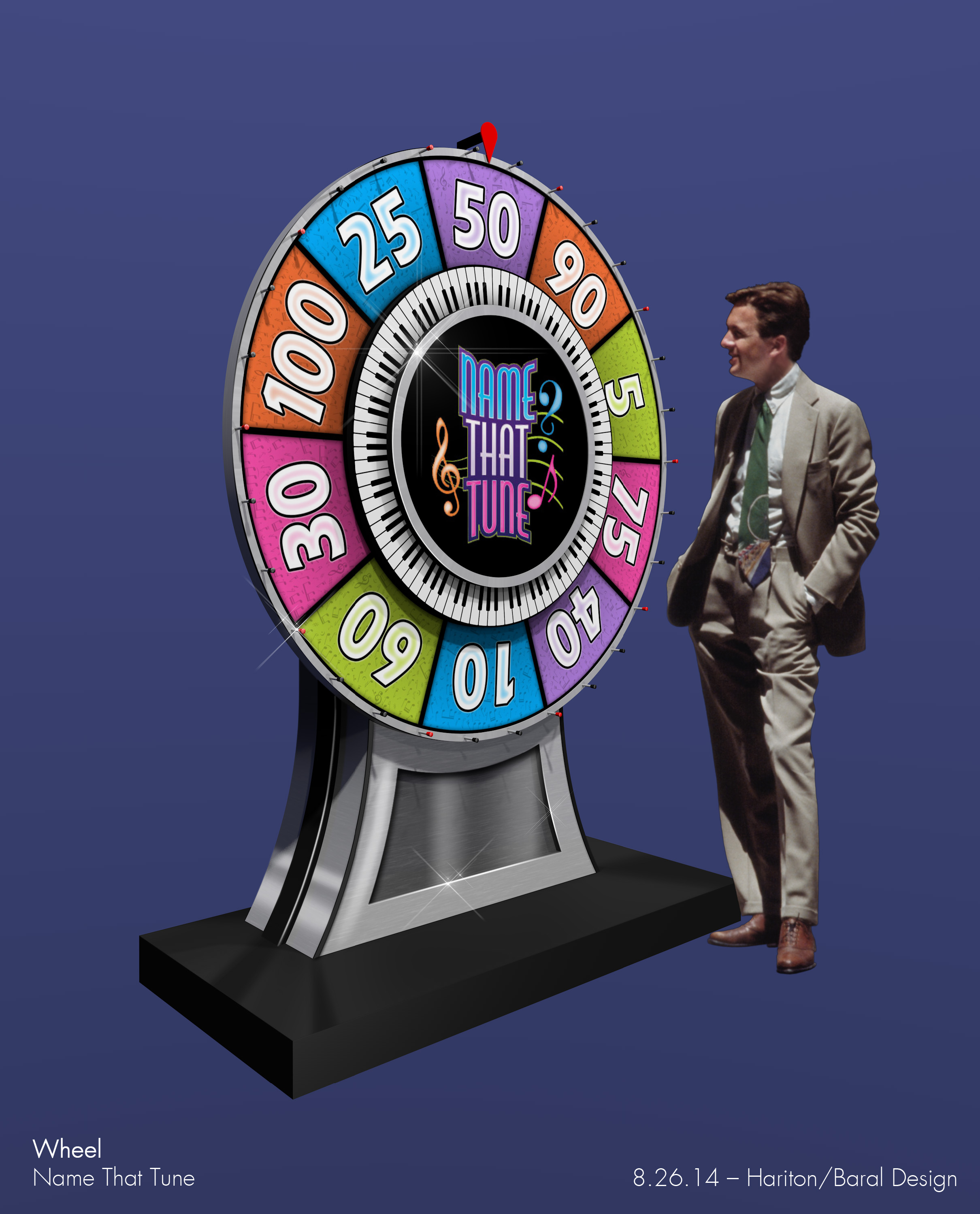 This concept rendering shows an earlier, smaller version of the game wheel.