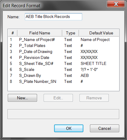 Example Record Fields with Field Name Modifiers