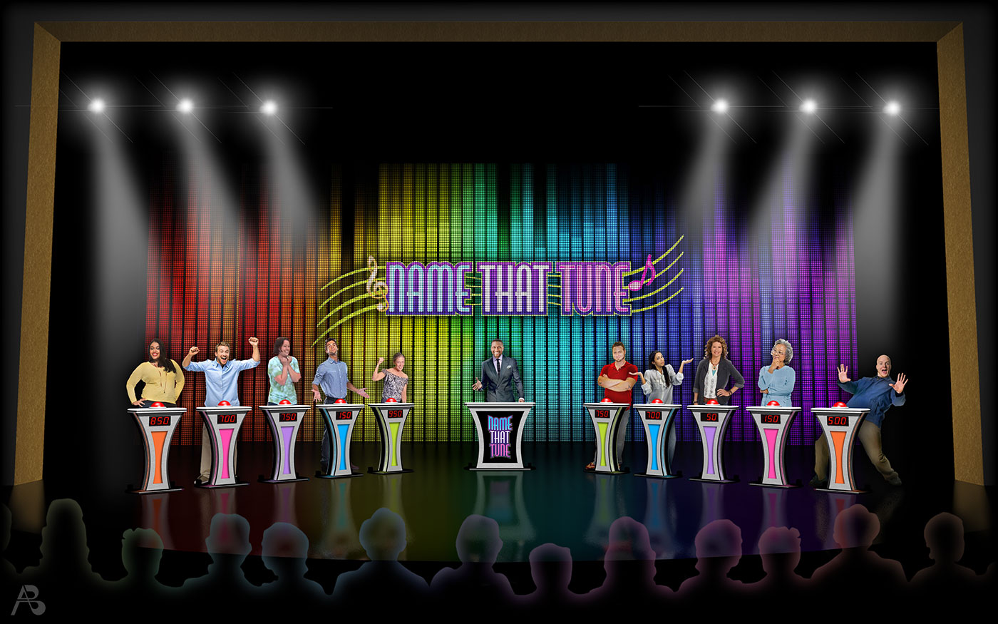 Scenic design rendering for  Name That Tune  (Quantum of the Seas & Anthem of the Seas).