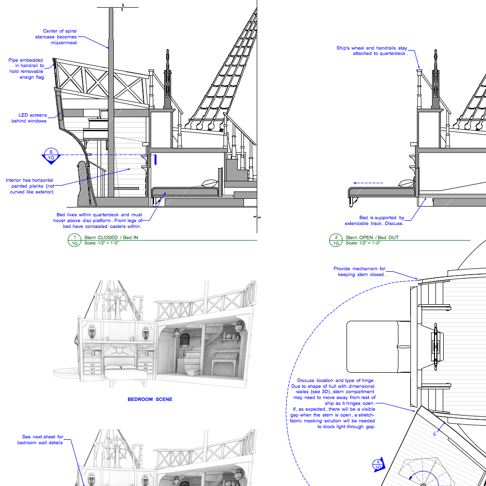 Columbus: The Musical!  (Royal Caribbean) Scenic design drafting package of automated set piece