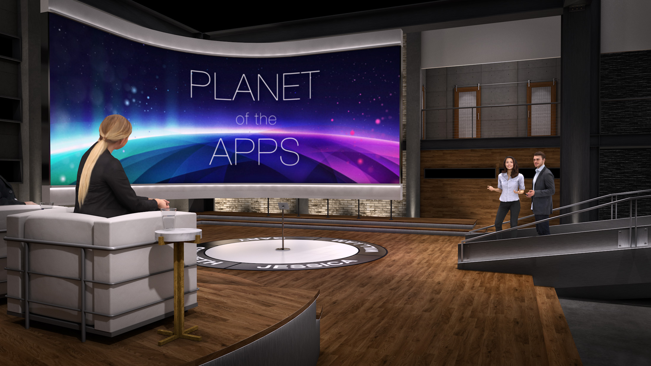 Production design concept illustration for the pitch area set, part of Apple's  Planet of the Apps  TV show. Vectorworks rendering by Andy Broomell.