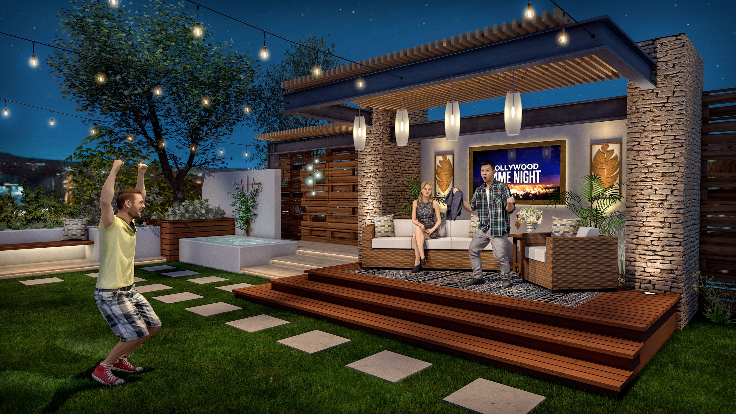 Vectorworks rendering for Hollywood Game Night tv show by Assistant Art Director Andy Broomell