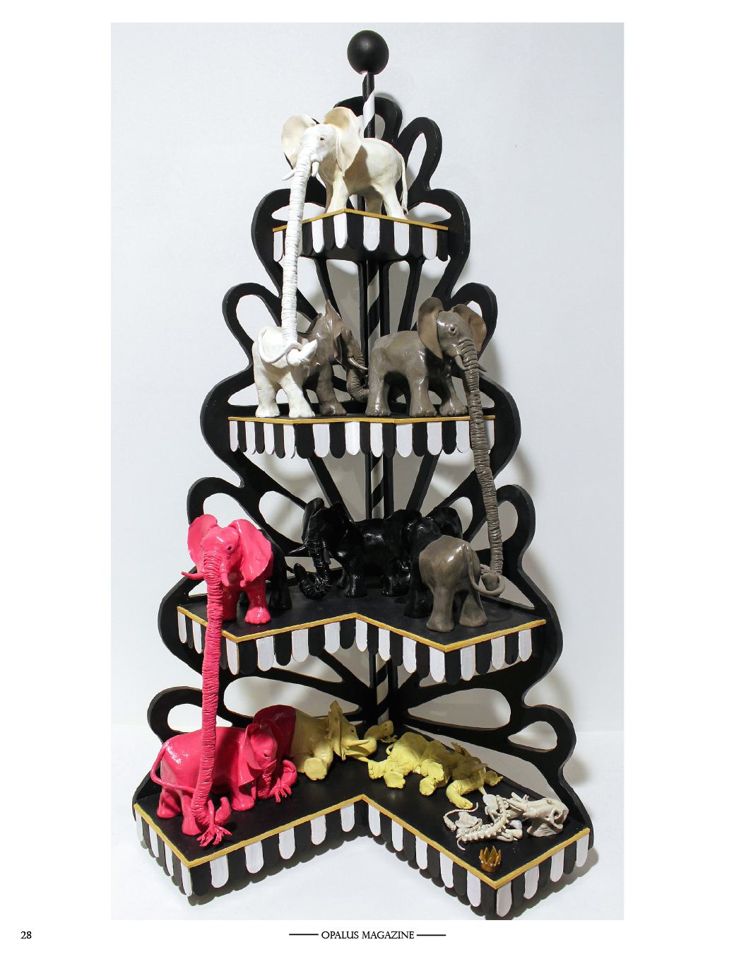 "Title  -  The Decline of the elephant king  (Sculpture)  Size  -  27"" x 16""    Medium  -  polymer clay, acrylic paint, wood, plastic diamonds"