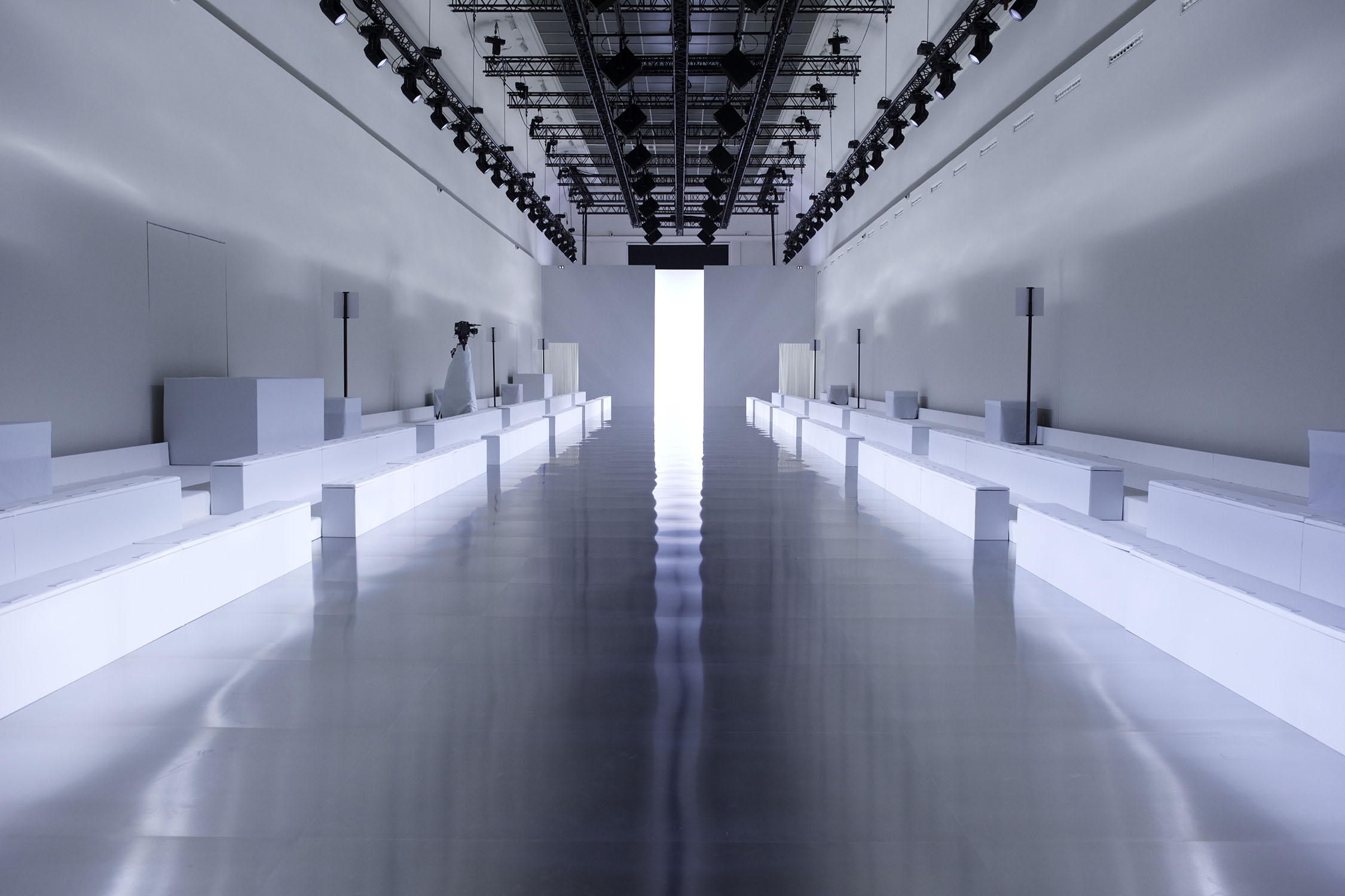 Image of the empty runway for the Paris fashion week Maison Margiela A/W15 collection  Image pulled fromhttp://www.maisonmargiela.com