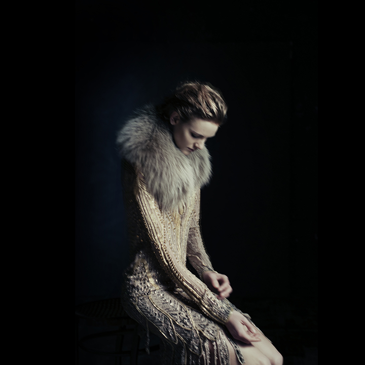 Embroidered Dress and Fur by Roberto Cavalli