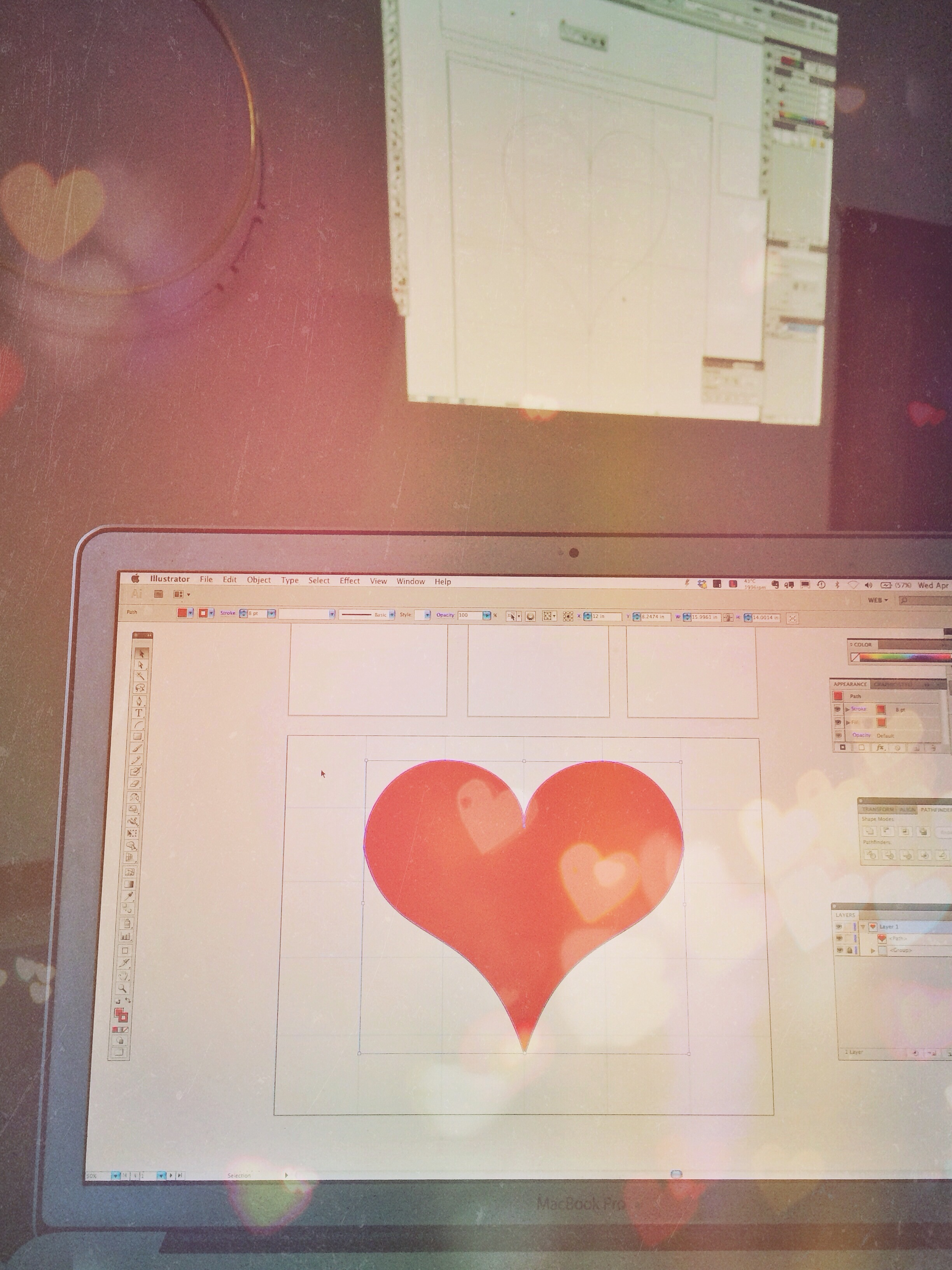 Making hearts in Christopher Breedlove's Adobe Illustrator course hosted through Dabble.