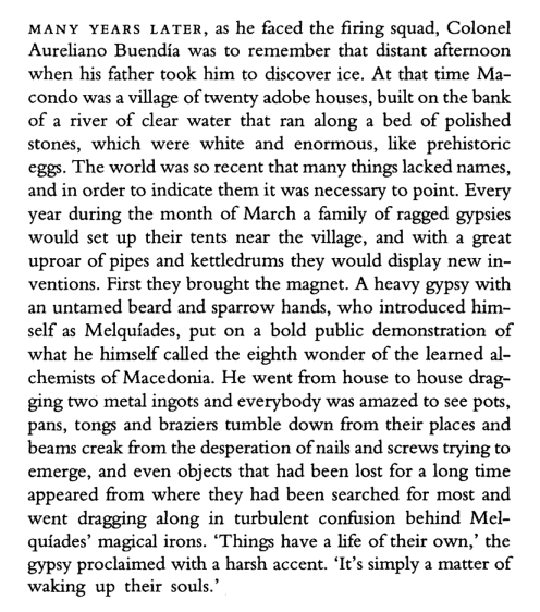 The beginning of Gabriel García Márquez' novel 'One Hundred Years of Solitude.'