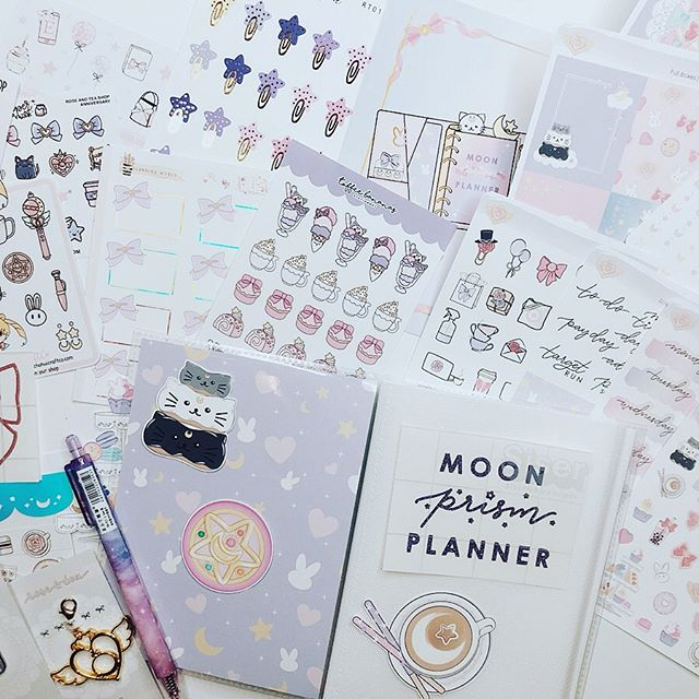 I'm so excited I was able to get a hold of @roseandteashop's first shoppiversary bundle Sweets and Stars 😍😍😍 Cheers and congratulations! It's one of the most beautiful kits I've ever seen, and I don't want to use it because I love looking at it. I'm a huge fan of Sailor Moon! This kit is so perfect. There were so many things I forgot to take a picture of, but check out their shop, they still have some things in stock! Moon prism planner, make up! ✨🌙✨ #sailormoon #usagitsukino #roseandteashop #sweetsandstars #plannerbundle #planner #planneraddict #plannerlove #plannerstickers #plannergirl #obsession #shoppiversary #inthenameofthemoon #illpunishyou #moonprismplanner