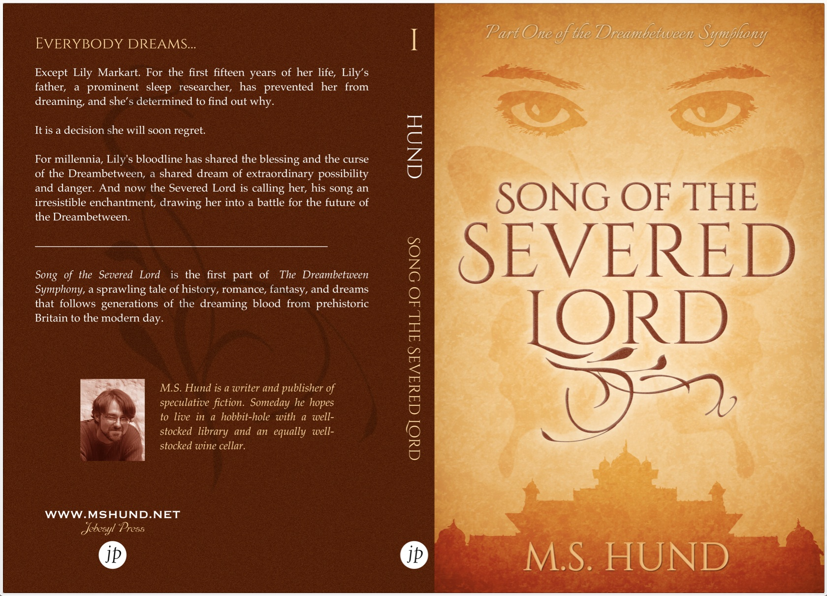 Back cover, spine, and front cover for print edition of SONG OF THE SEVERED LORD