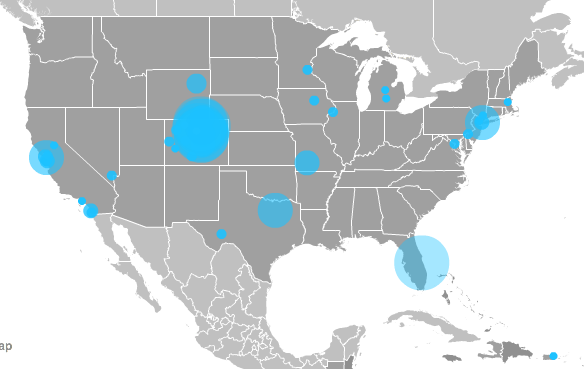 2014's Heat Map of 3,221 Attendees from 16 States and Puerto Rico.