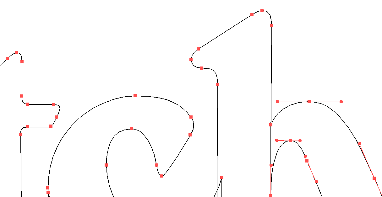 Closeup of bezier curves. Each hand-drawn logo is vectorized for a sharp appearance at and size: 100% scalable.