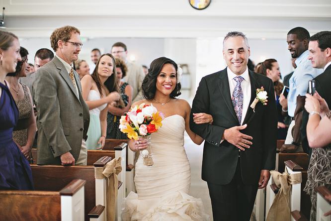 dad walking bride down the aisle