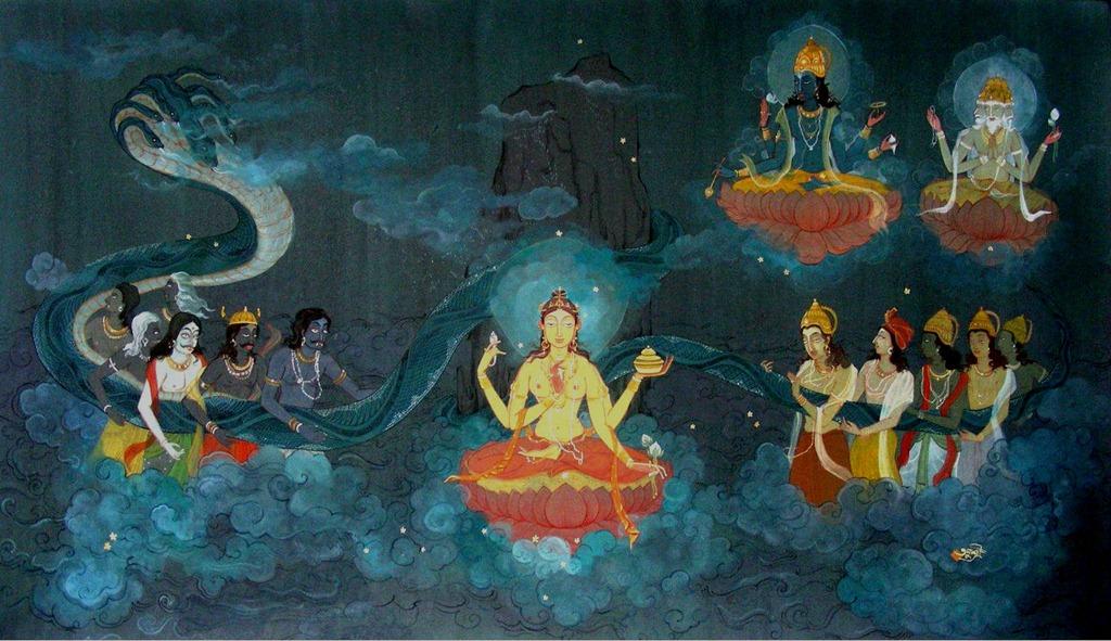 Samudra manthana (Sanskrit: समुद्रमन्थन, lit.churning of the ocean)