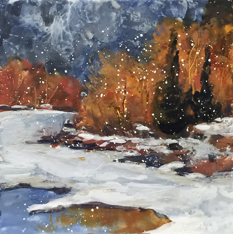 """Snow Gently Falling"", 8x8' encaustic"
