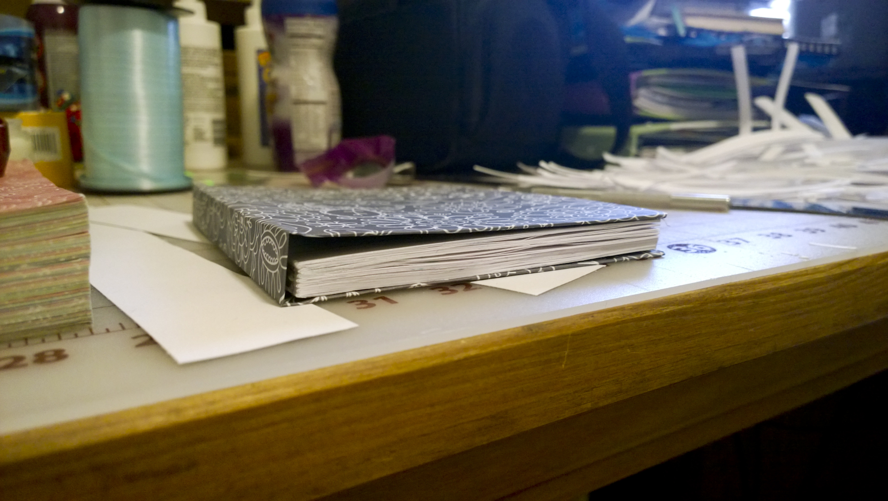 the dry book and cover ready to be attached to each other