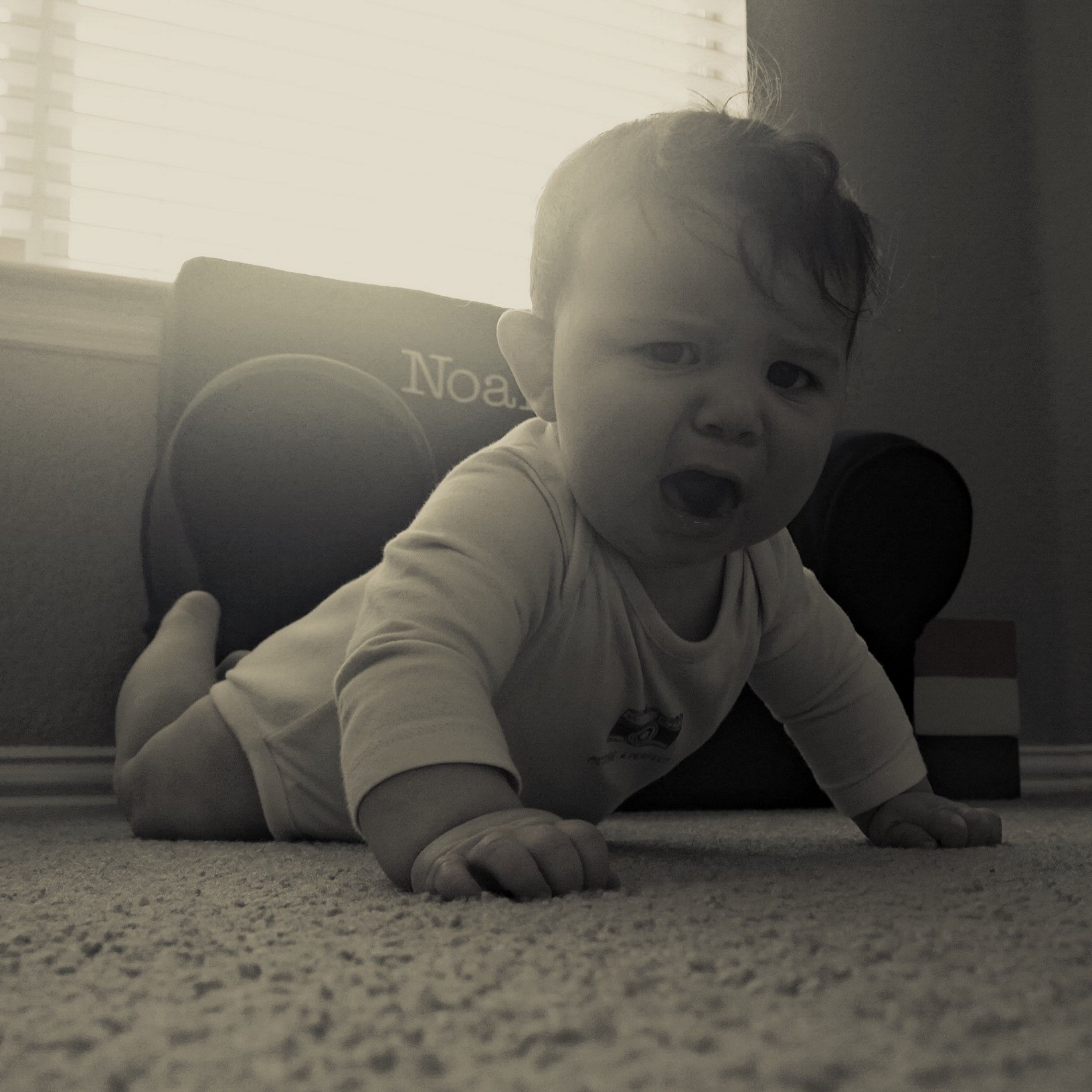 Luke is not too sure if he likes this whole crawling thing...
