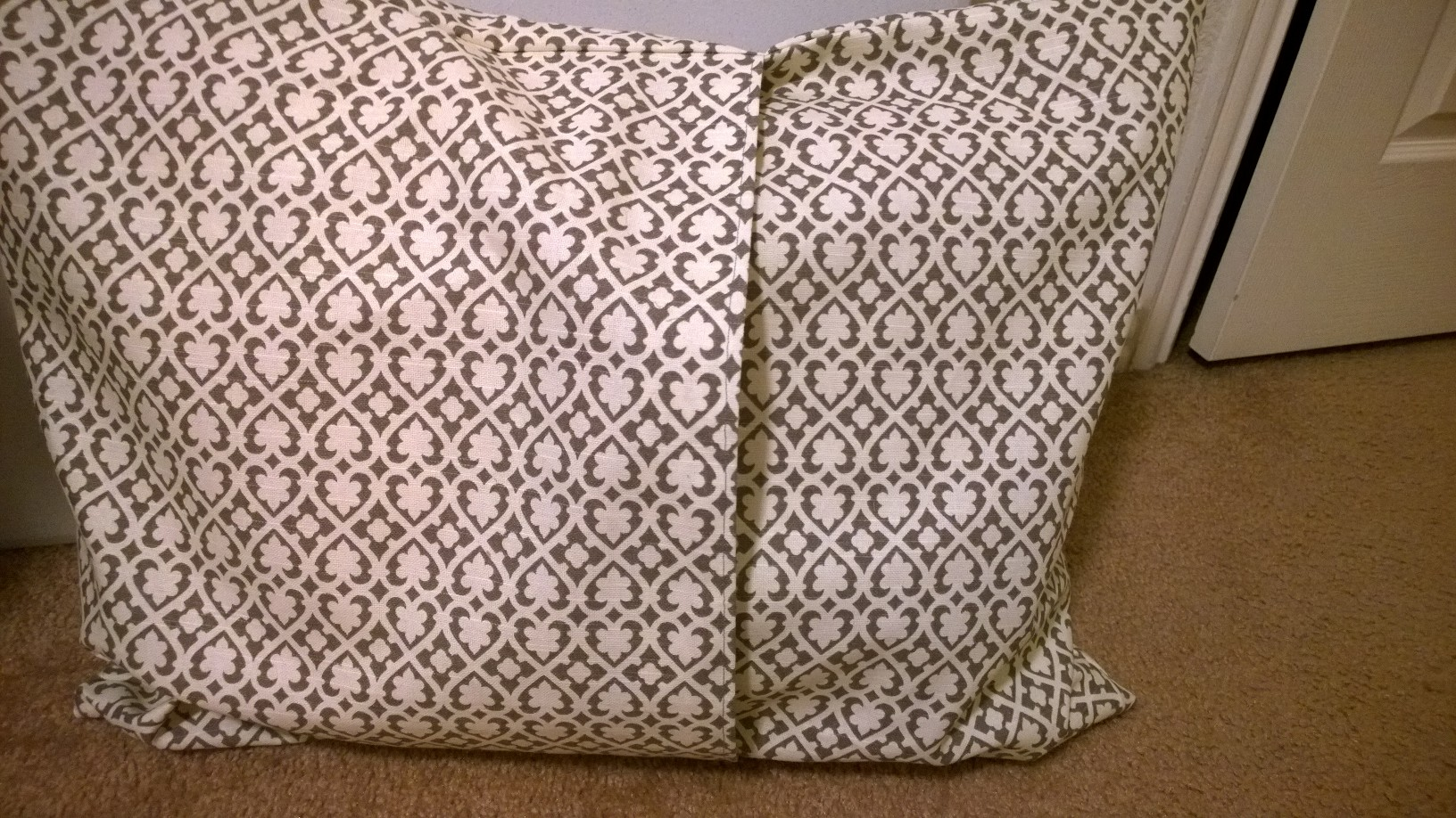 Back of one of the pillows, so you can don't see the pillow inserted
