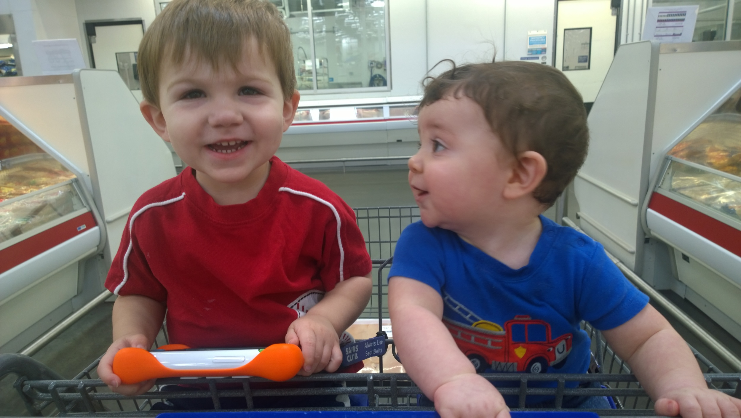 One trip to Sam's that ended with me pushing the cart and holding a 20 lb. baby at the same time.