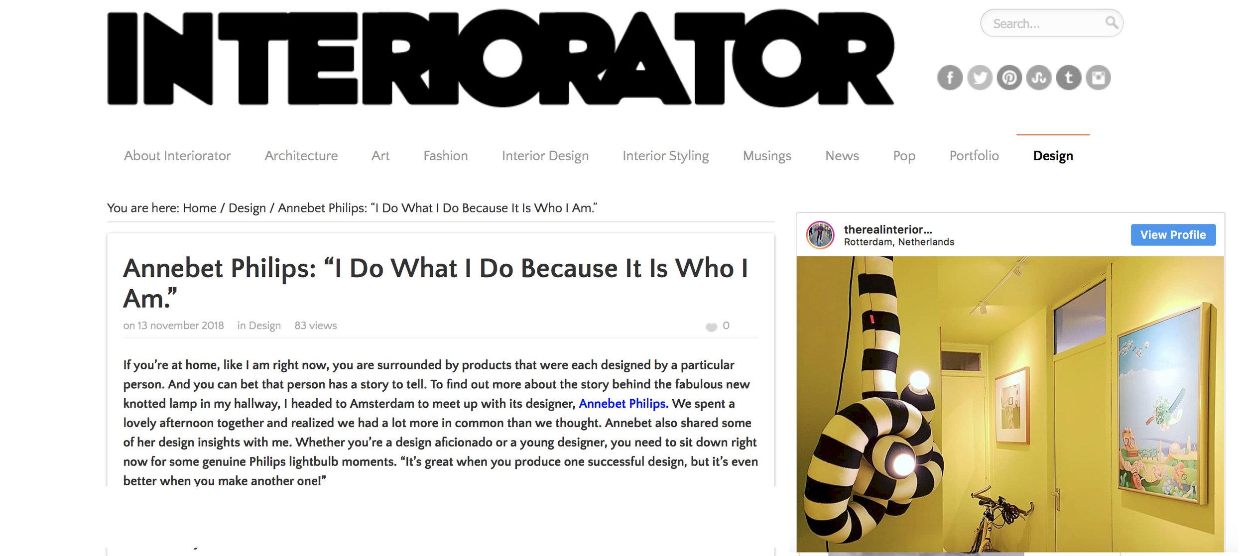 "Interview blog ""INTERIORATOR"""