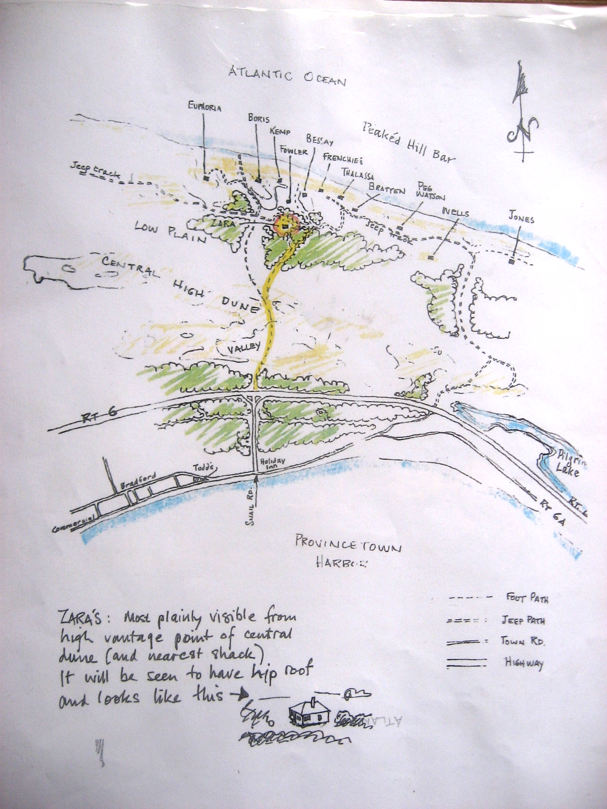 map of Peaked Hill Bars Trust historic dune shacks