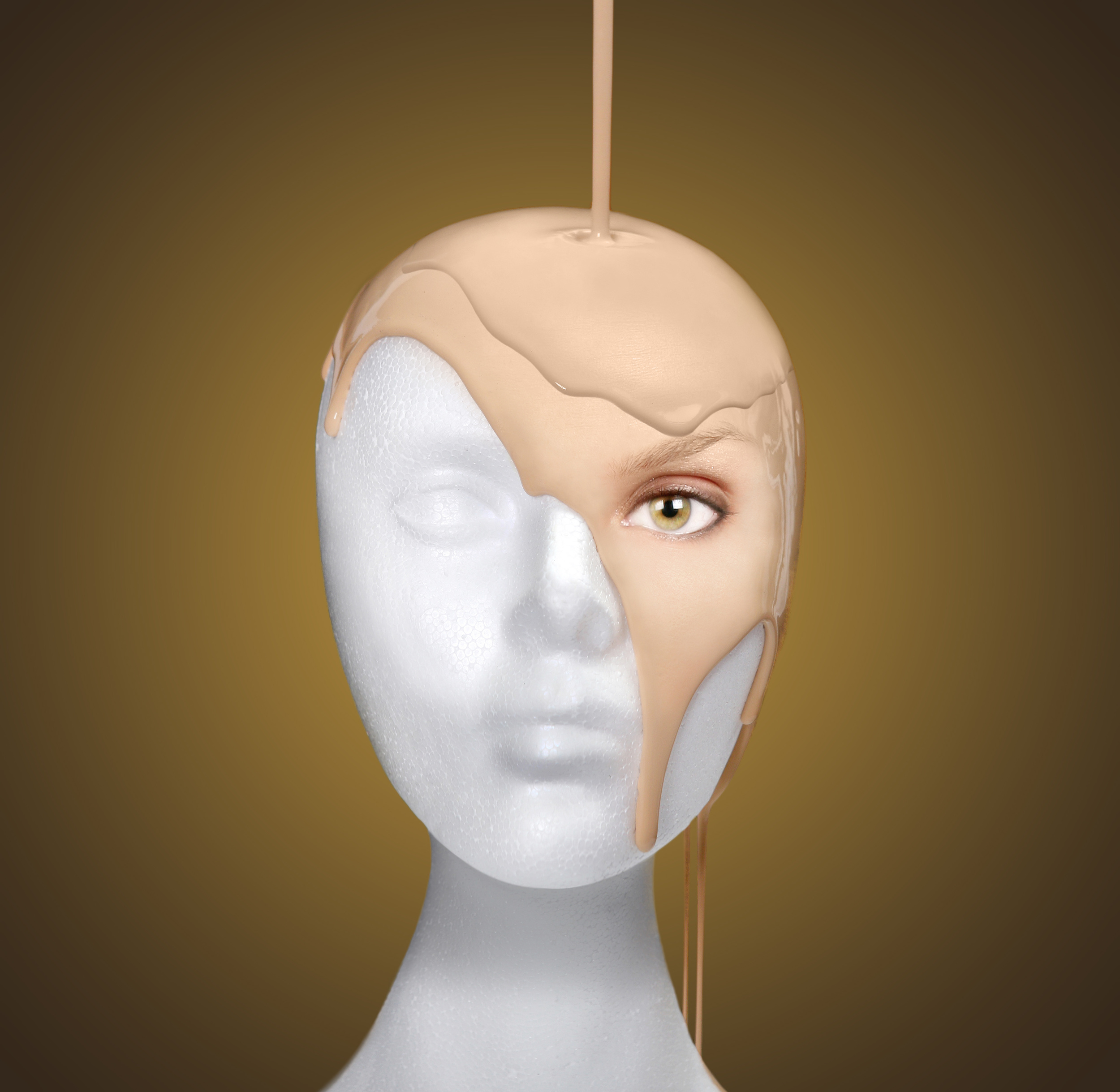 Concept of Pouring a Face Onto a Mannequin Head
