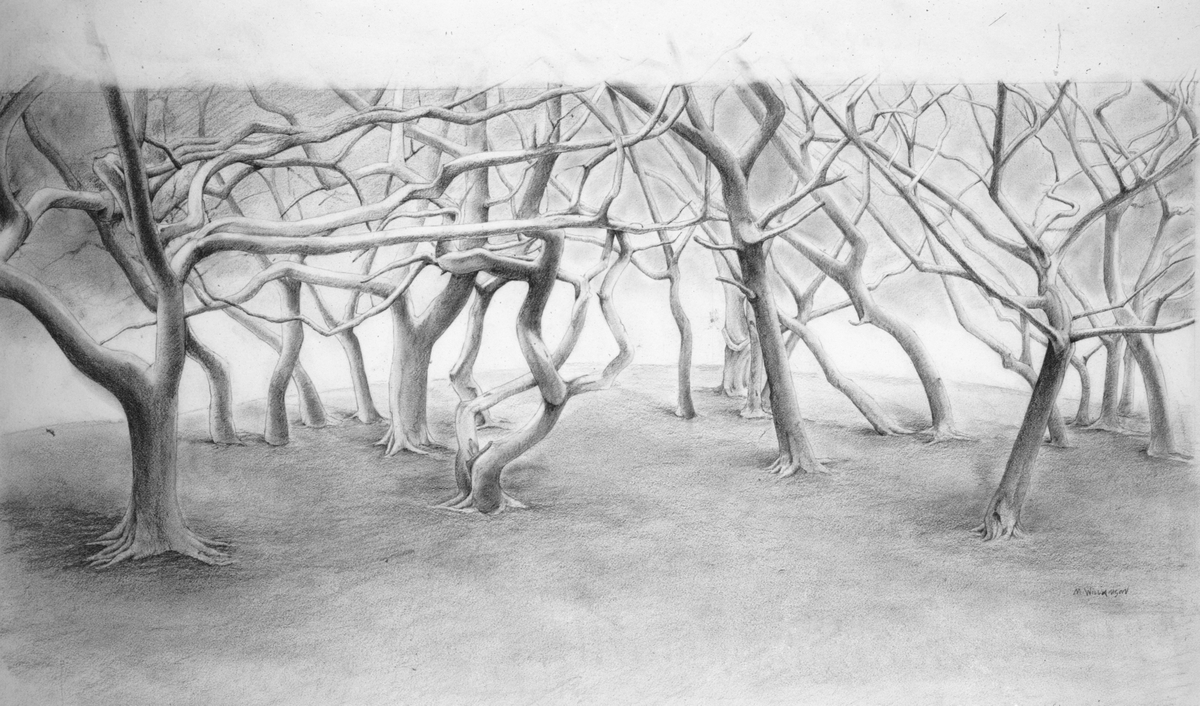 """Landscape with Trees, 12"""" x 27"""""""