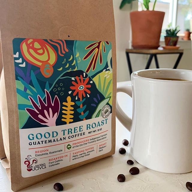 Recently I had the chance to design a coffee label for the incredible non-profit Trees, Water & People. They partner with a Guatemalan community that has seen massive heartbreak and devastation in recent years from natural disasters and the resulting displacement. Through it all, they remain connected to their land and continue to grow coffee beans — which, through this partnership, made their way to Fort Collins and @jackiesjavaco for roasting. A few of these bags were hand-delivered to Guatemala and their reaction was so great to hear — the vibrant colors and lively shapes are a perfect representation of their positive outlook on life and the natural beauty that surrounds them.✨ . . . #coffeelabel #guatemalancoffee #freelancedesigner #illustration #treeswaterpeople #nonprofitdesign