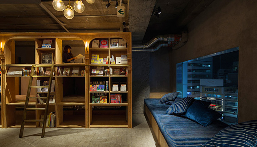 A library-meets-hotel at Book and Bed in Tokyo
